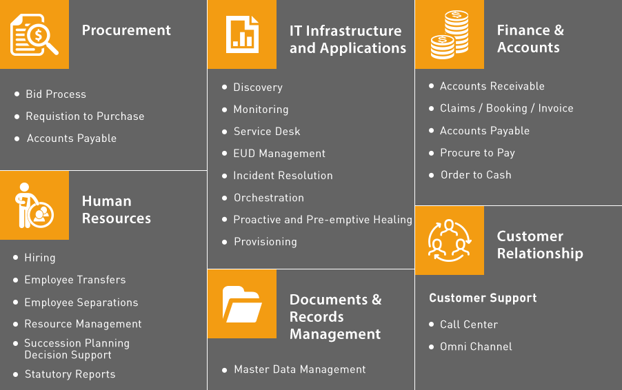 Functional Process areas: Procurement, IT, Finance and Accounts, HR, Documents and Records management, Customer Relationship